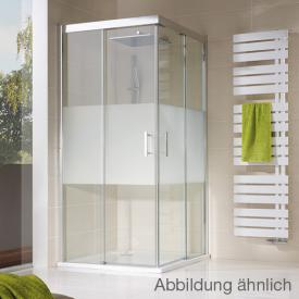 HSK Solida sliding door corner entry, asymmetric, floor-level clear light / matt silver, STIM 118.5-120.5