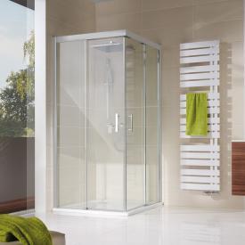 HSK Solida sliding door corner entry, floor-level TSG light clear / matt silver
