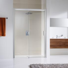 HSK Solida sliding door for recess, floor-level TSG light clear with shield coating / matt silver