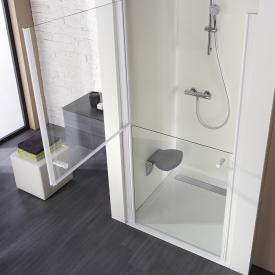 HSK rectangular shower tray with integrated shower channel, super flat white, channel cover polished stainless steel