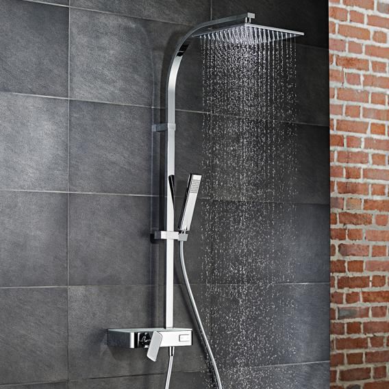 HSK AquaSwitch RS 500 Mix shower set with overhead shower W: 250 H: 8 D: 250 mm glass colour white