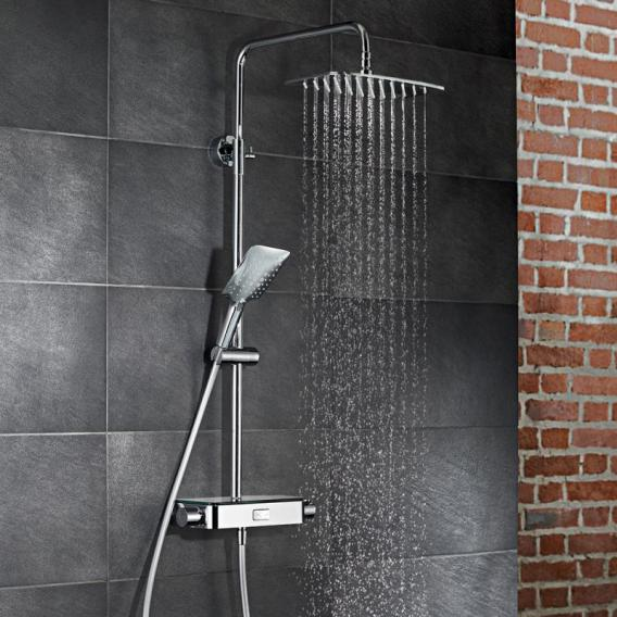 HSK AquaSwitch Softcube exposed thermostat, overhead shower W: 300 H: 2 D: 250 mm glass colour white