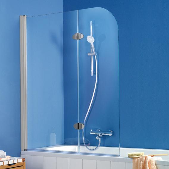 HSK Exklusiv bath screen 2-part shield coating, light clear / aluminium matt silver