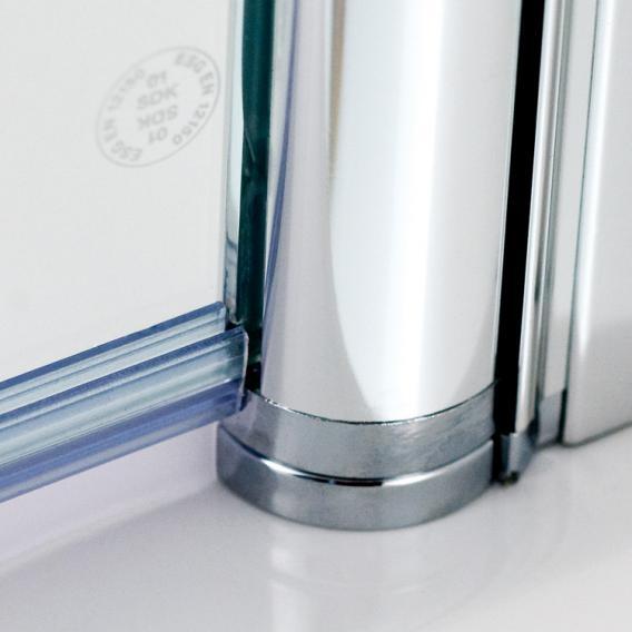 HSK Exklusiv bi-fold bath screen 2-part TSG light clear with shield coating / matt silver