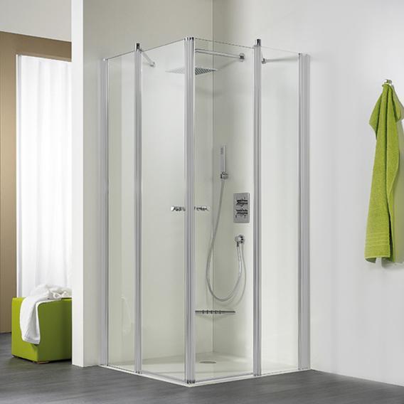 HSK Exklusiv hinge door corner entry light clear / matt silver, STIM 88.5-90.5 cm