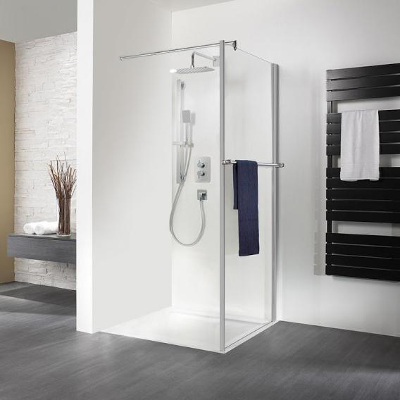 HSK Exklusiv side panel for hinged door with towel rail light clear / matt silver, STIM 88.5-90.5 cm