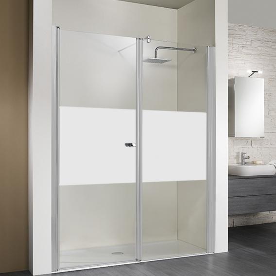 HSK Exklusiv swing door in recess matt centre / matt silver, STIM 157-161 cm