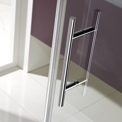 HSK Favorit Nova pivot door for side panel with fixed part TSG light clear / matt silver