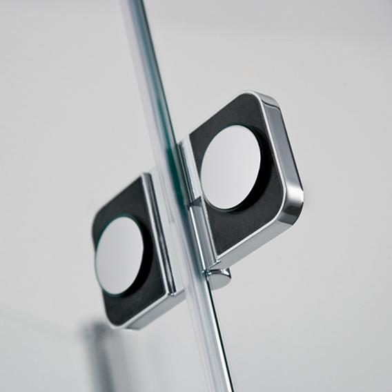 HSK Premium Softcube hinged door corner entry 4- part TSG light clear with shield coating / chrome look