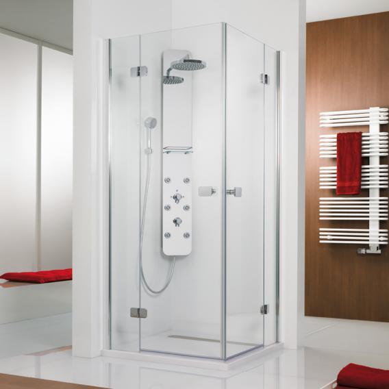 HSK Premium Softcube hinged door corner entry TSG clear light shield coating / chrome look