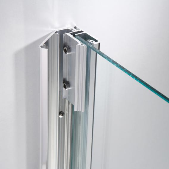 HSK Premium Softcube hinged door with fixed panel for side panel TSG light clear with shield coating / chrome look