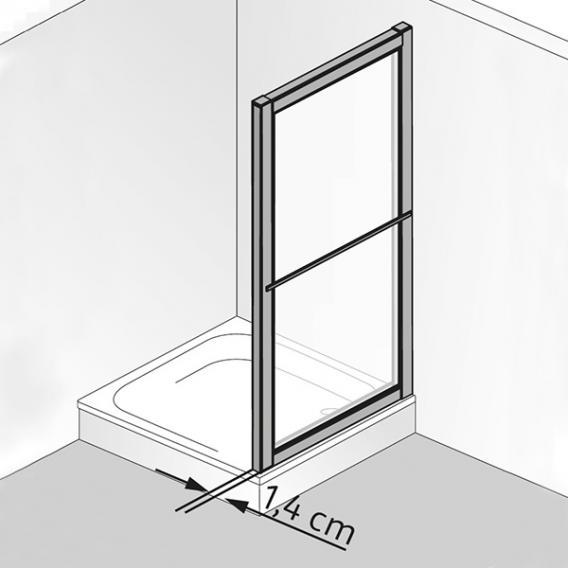 HSK Prima short side panel for sliding door acrylic glass, light drops / matt silver