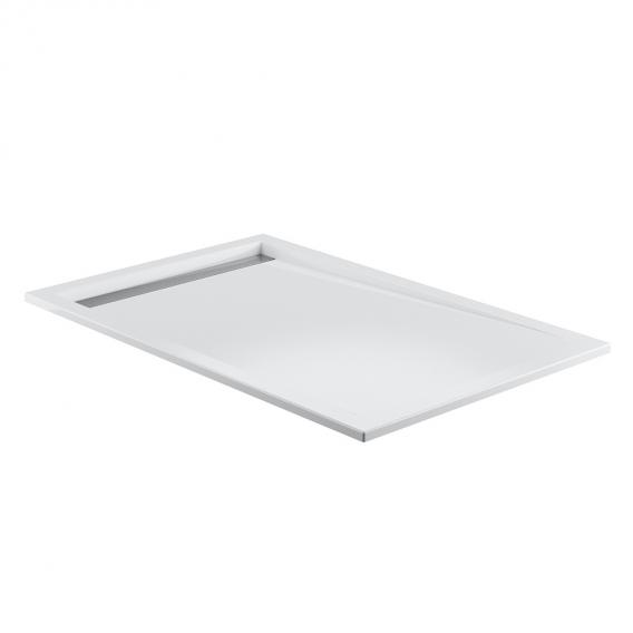 HSK square / rectangular shower tray with small drain, super flat white, drain cover polished stainless steel, with AntiSlip
