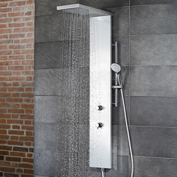 HSK shower column Lavida Plus W: 250 H: 2220 D: 670 mm polished stainless steel/white glass front