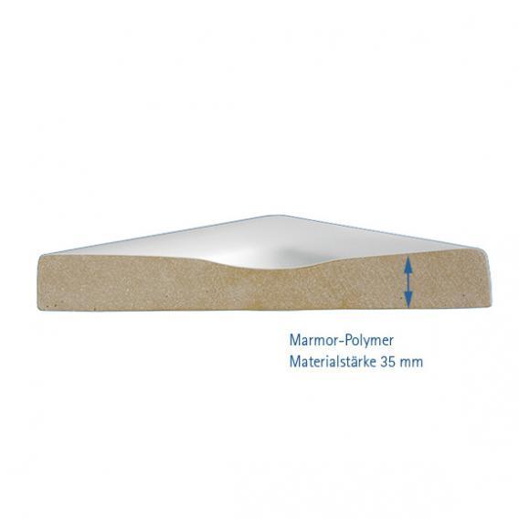 HSK Marmor-Polymer square shower tray, super flat white
