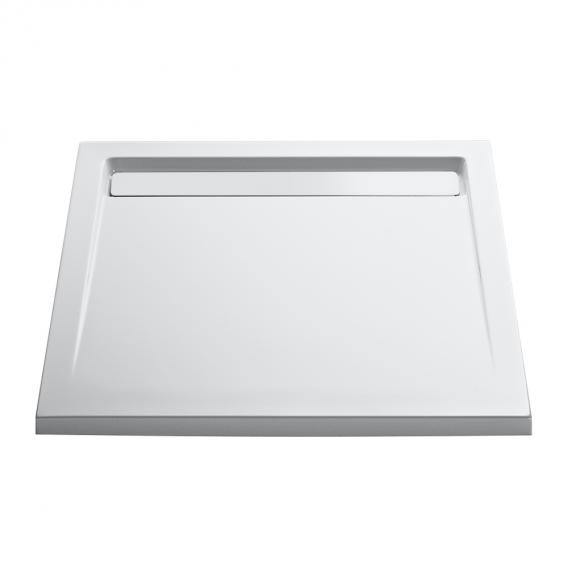 HSK rectangular shower tray with integrated drain channel, super flat white, white drain cover