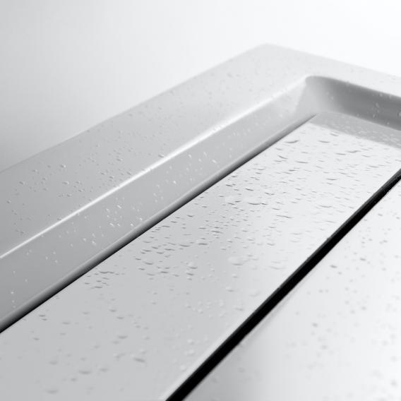 HSK rectangular shower tray with integrated shower channel, super flat white, channel cover white
