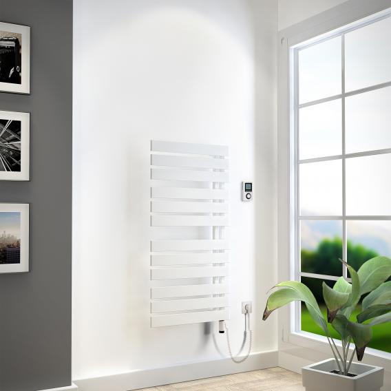 HSK Yenga bathroom radiator for purely electrical operation white, 600 W, white heating rod, left version