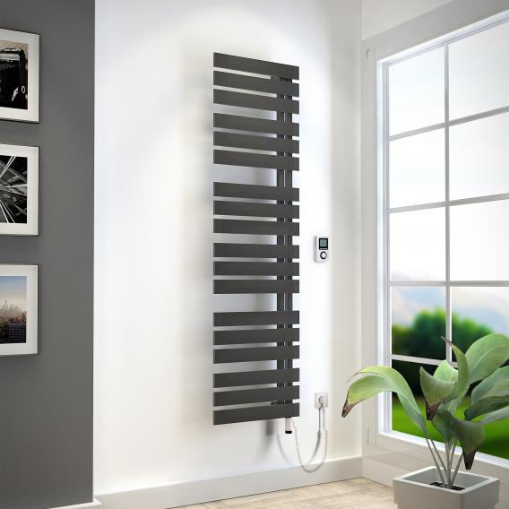 HSK Yenga towel radiator with heating element 4 for all electric operation graphite black, 800 W, silver heating element, left version