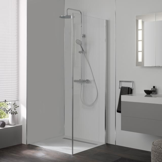 HSK Aperto side panel for two-way hinged door with fixed panel TSG light clear with shield coating / chrome look