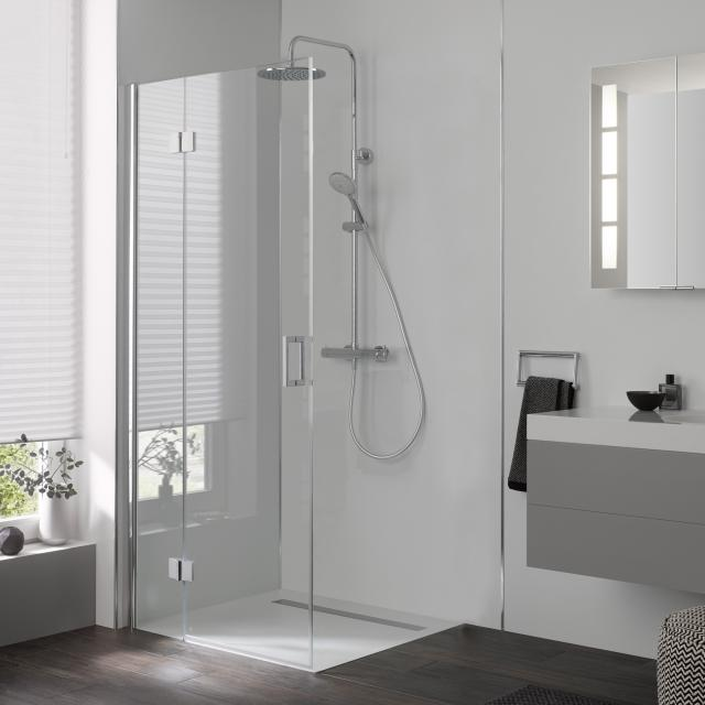 HSK Aperto two-way hinged door for side panel TSG light clear with shield coating / chrome look