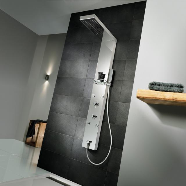 HSK Lavida floorstanding shortened shower panel, suspended rain traverse brushed stainless steel