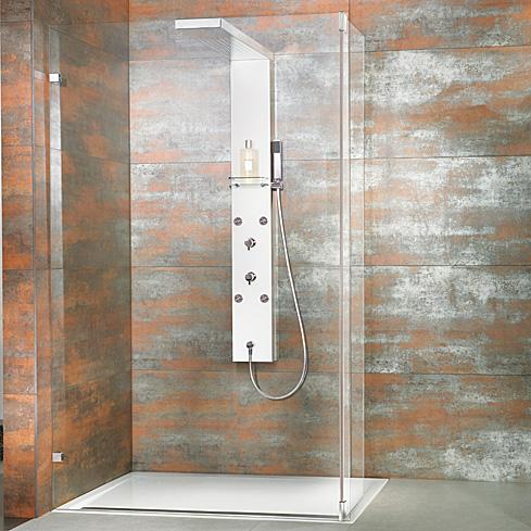 HSK Lavida shortened shower panel, for holding glass WALK IN brushed stainless steel