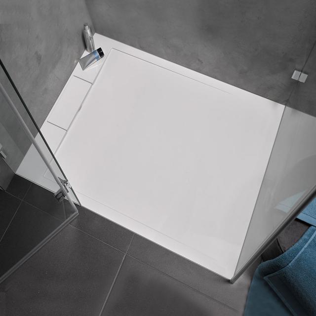 HSK Marmor-Polymer Receveur de douche rectangualire avec évacuation latérale blanc