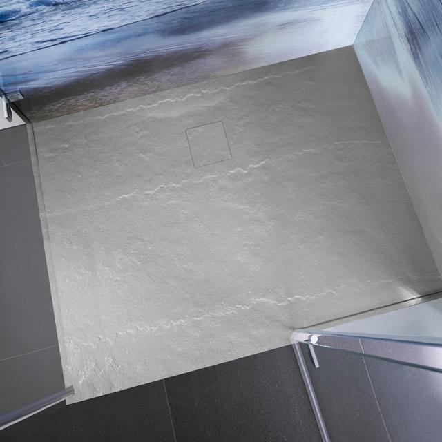 HSK Receveur de douche rectangulaire, en polymère effet roche, extra plat gris pierre