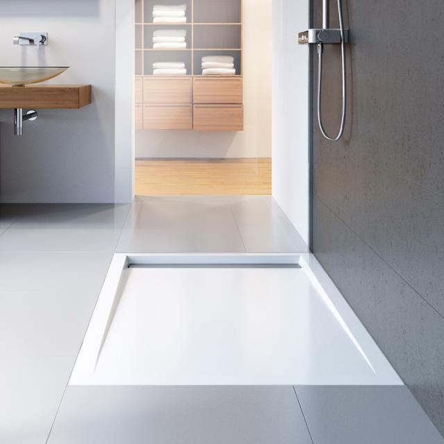 HSK Receveur de douche rectangulaire avec rigole de douche effilée, extra plat blanc, bonde en acier inoxydable poli