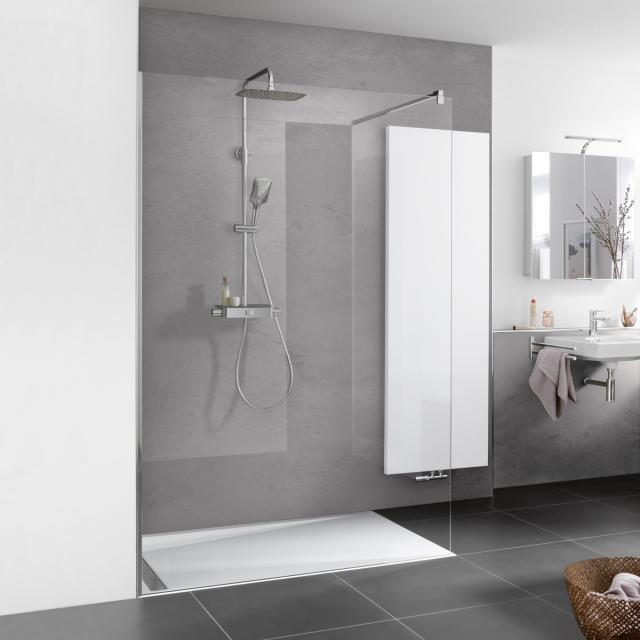 HSK Walk In Pro glass element with wall profile TSG light clear with shield coating / chrome look