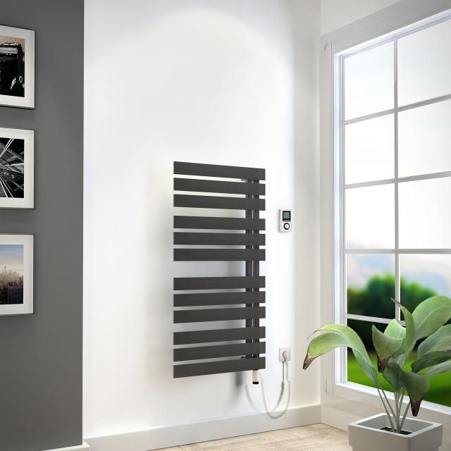 HSK Yenga towel radiator with heating element 4 for all electric operation graphite black, 600 W, silver heating element, left version