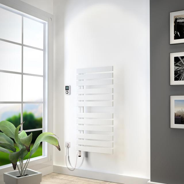 HSK Yenga towel radiator with heating element 4 for all electric operation white, 600 W, white heating element, right version