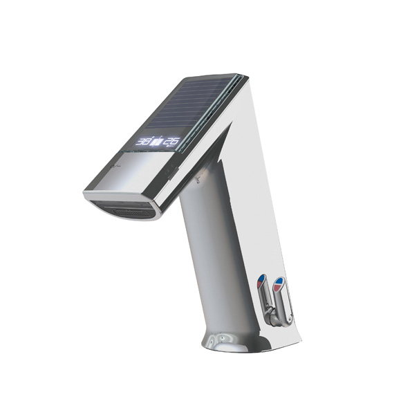 Conti+ ultra GM10 EXPERT basin fitting with IR sensor, with temperature control, solar-powered without waste set