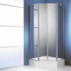 HÜPPE 501 Design pure pentagonal swing door with fixed segments, 2 wings TSG clear / matt silver