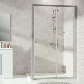 HÜPPE Alpha 2 partially framed sliding door 1 part with fixed segment TSG clear / matt silver