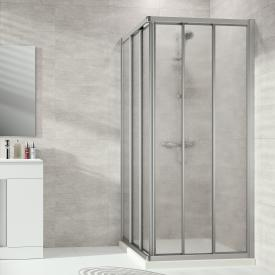 HÜPPE Alpha 2 framed sliding door 3 part for corner entry acrylic glass pacific S clear / matt silver