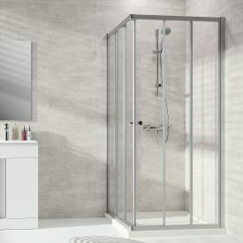 HÜPPE Alpha 2 partially framed sliding door 3 part for corner entry TSG clear with ANTI-PLAQUE / matt silver