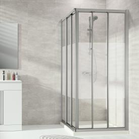 HÜPPE Alpha 2 framed sliding door corner entry 3 part TSG privatima with ANTI-PLAQUE / matt silver