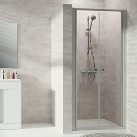 HÜPPE Alpha 2 partially framed two-way door TSG clear with ANTI-PLAQUE / matt silver