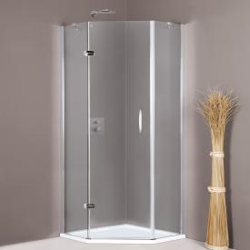 HÜPPE Aura elegance pentagonal swing door with fixed segments 1 wing TSG clear with ANTI-PLAQUE / matt silver