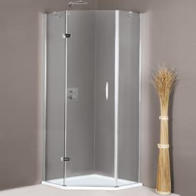 HÜPPE Aura elegance pentagonal swing door with fixed segments 1 wing TSG clear / matt silver