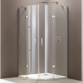 HÜPPE Aura elegance quadrant swing door with fixed segments 2 wings TSG clear with ANTI-PLAQUE / matt silver
