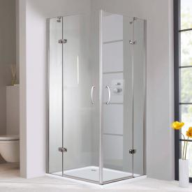 HÜPPE Aura elegance swing door corner entry with fixed segments TSG clear with ANTI-PLAQUE / chrome