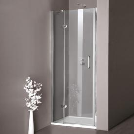 HÜPPE Aura elegance swing door with fixed segment in recess TSG clear with ANTI-PLAQUE / matt silver