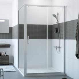 HÜPPE Classics 2 sliding door 1 part with fixed segment TSG clear with ANTI-PLAQUE / silver high gloss