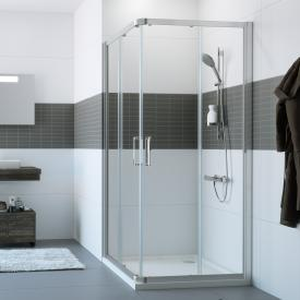 HÜPPE Classics 2 sliding door 2 part for corner entry TSG clear with ANTI-PLAQUE / silver high gloss