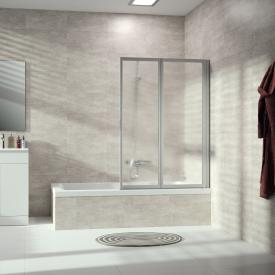 Hüppe Combinett 2 bath screen, 2 piece acrylic glass Pacific S clear without ANTI-PLAQUE / matt silver