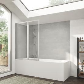 HÜPPE Combinett 2 bath screen, 2 piece clear glass without ANTI-PLAQUE / silber matt
