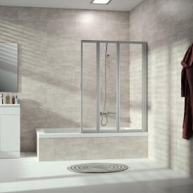 HÜPPE Combinett 2 bath screen, 3 piece clear glass with ANTI-PLAQUE / matt silver